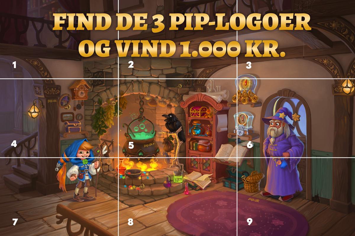 Kan du finde de 3 PIP-logoer, der gemmer sig i troldmandens hytte? 🧙♂️
