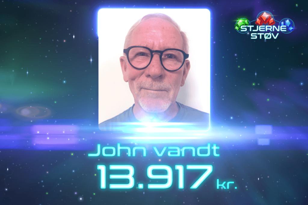 John vandt Jackpot-gevinst på 13.917 kr. i Stjernestøv!