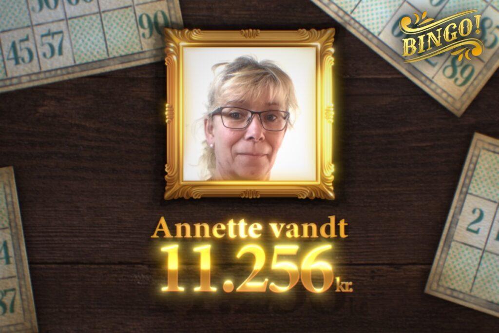 Annette vandt Jackpot-gevinst på 11.256 kr. i Bingo!
